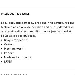 Madewell Tops - Madewell Setlist Boxy Crop Tee Black/White Med NWT